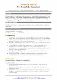 New Home Sales Consultant Resume Format