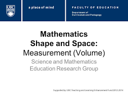 Mathematics Shape And Space Measurement Volume