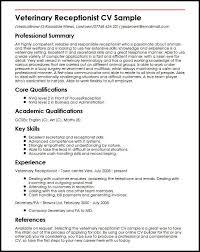 Veterinary Receptionist CV Sample
