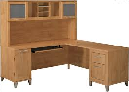 decorating custom large corner desk with hutch in white and