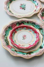 Set Of 12 Floral Tea Cup Party Theme Paper Plates 8 Gorgeous Shades Mint Green
