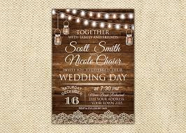 Country Wedding Invitation Barn Rustic Printable String Lights
