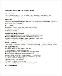Healthcare Administration Internship Resume