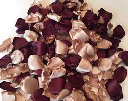 Burgundy Rose Petals Maroon Wedding Champagne Tan