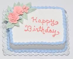 Blue Happy Birthday Cake w Pink Roses