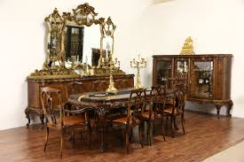 Italian Baroque Carved 1930s Vintage Dining Set Table 8 Leather Chairs