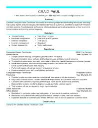 Best Computer Repair Technician Resume Example