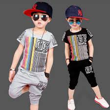 2017 Summer Kids Boys T Shirt Shorts Children Set Short Sleeve Clothing Sports