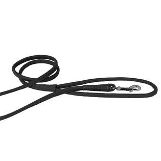 "Dogline Soft and Padded Rolled Round Leather Dog Leash - Black, 3/8"" x 4'"