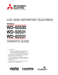 mitsubishi wd 52531 specifications