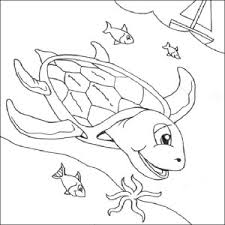 Free Sea Turtle Underwater Coloring Page