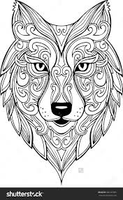 Vector Hand Drawn Doodle Wolf Head Illustration Zentangle Decorative Drawing For Coloring Book