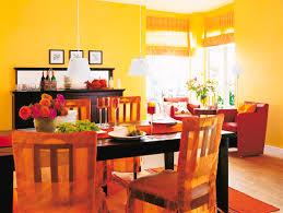 esszimmer in rot gelb und orange bild kaufen