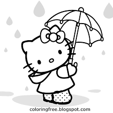 Umbrellas Singing In Rain Hello Kitty Coloring Pages Free Beautiful Printables For Teenage Girls Art