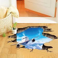 blauen himmel flugzeug 3d wandaufkleber luftfahrt wandtattoos für kinder kinderzimmer schlafzimmer boden decke dekoration wandmalereien