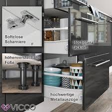 vicco küche fame line küchenzeile küchenblock einbauküche 295cm anthrazit weiß hochglanz