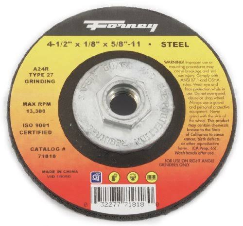 "Grinding Wheel, Type 27, 4.5 x 1/8"", Forney, 71818"