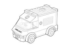 Lego Ambulance Car Coloring Page For Kids Printable Free