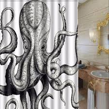 150x180cm Octopus Steampunk Ocean Theme Fabric Waterproof Shower