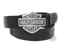 oh 7 harley davidson mens embossed b u0026s buckle black leather