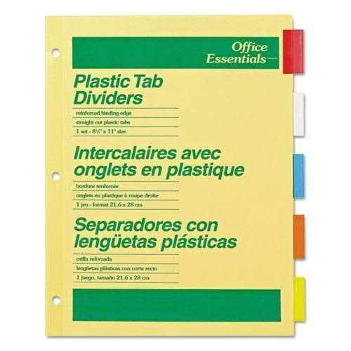 Office Essentials Plastic Tab Dividers - 5 Pack