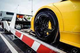 100 Truck Roadside Service Flat Bed Tow Loading A Broken Vehicle Stock