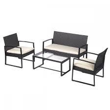 Ebay Patio Furniture Sectional by 4 Piezas Juego De Sofá De Patio Al Aire Libre Muebles De Mimbre