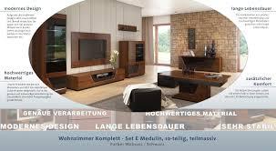 wohnzimmermöbel wohnzimmer komplett set e medulin 10 teilig teilmassiv farbe walnuss schwarz