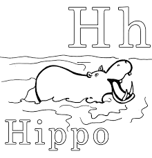 H Is For Hippo Alphabet Coloring Pages Printable