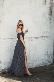love lenore off the shoulder polka dot maxi