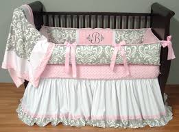 brooklyn pink and silver damask baby bedding