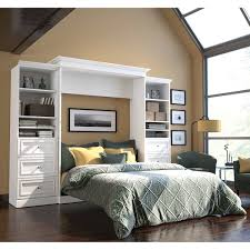 Queen Murphy Bed Kit by Bestar Audrea Queen Wall Bed In White With Two 25
