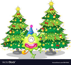 Two Tall Christmas Trees At The Back Of A Happy Vector Image