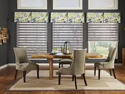 Good Modern Kitchen Curtain Ideas With Floral Valances And Gray Blind In Dining Room