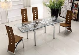 Extendable Clear Glass Top Leather Modern Dining Table Sets