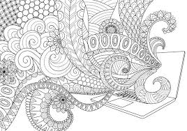 Download Doodle Design Of Fun Line Art Flowing Out Laptop For Adult Coloring Book Pages