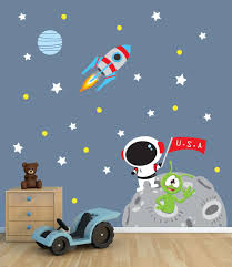 Wall Mural Decals Amazon by Amazon Com Space Wall Decal With Astronaut Rocket And Moon For