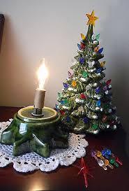 60s70s Vintage Handmade Ceramic Christmas Tree W Plastic Bulb Lights