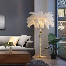 fanthy light stehle mit echten federn romantische prinzessin schlafzimmer nachttisch stehle straußenfeder le weiß