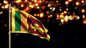 Sri Lanka National Flag City Light Night Bokeh Loop Animation