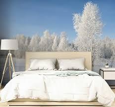 winterbäume bedeckt im schnee wald fototapete