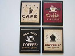Coffee Plaques 4 Piece Set Kitchen Wall Decor Signs New York Paris