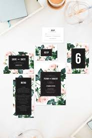 Rose Modern Vintage Wedding Invitations Save The Dates Roses Pink Green Black White Floral