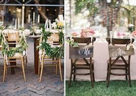 Wooden Signs Written With Mr And Mrs Hang On The Backs Of Bride Grooms Chairs Is A Great Alternative For Rustic Chic Vintage Wedding Theme