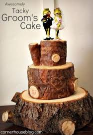 Wooden Log Grooms Cake Dont Love The Frogs But Rest Would