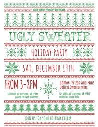 Red And Green Ugly Christmas Sweater Party Invitation Template Stock Vector