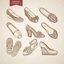 Engraving Vintage Hand Drawn Sandals Thongs And Shoes On Tankette Heels Doodle Collage