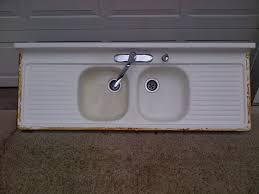 vintage double basin double drainboard porcelain over cast iron sink