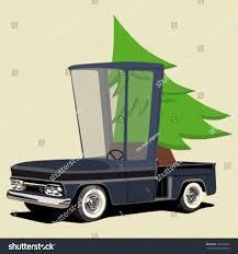 Funny Cartoon Pickup Truck Christmas Tree Stock Vector 167817026 ...