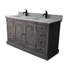 Infurniture Rustic Style Grey Marble 61 Inch Bathroom Vanity